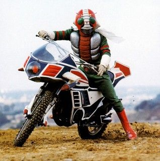 Kamen Rider V3 created by Shotaro Ishinomori    America has 'Superman' and Japan has Kamen Rider or called masked rider here in the U.S.  colorful superheroes with people who transform into Grasshopper looking costumes.