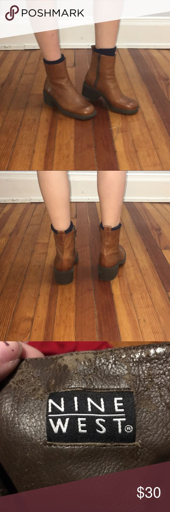 Brown Leather Ankle Boots Soft brown leather ankle boots. Round toe. Never worn.   *** • No swaps • Bundle for a discount! Nine West Shoes Ankle Boots & Booties