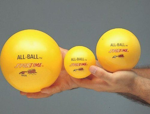 "Sportime Multi-Purpose Inflatable All-Balls - 6"" (15.2cm), Each, Yellow by Sportime. $5.19. Easy to catch and hold. Designed for years of active play. The Sportime Family of Products are known throughout schools in the US. Perfect for school or home use. One yellow 6"" ball. All-Balls are very easy to hold and catch with their high-tactile surface. Uses are unlimited, including juggling, paddleball activities, Fling-It, baseball, softball, hand-squeeze exercising and much more...."