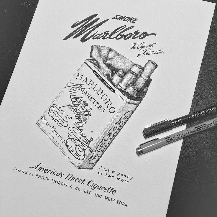 Vintage Marlboro Ad dotwork