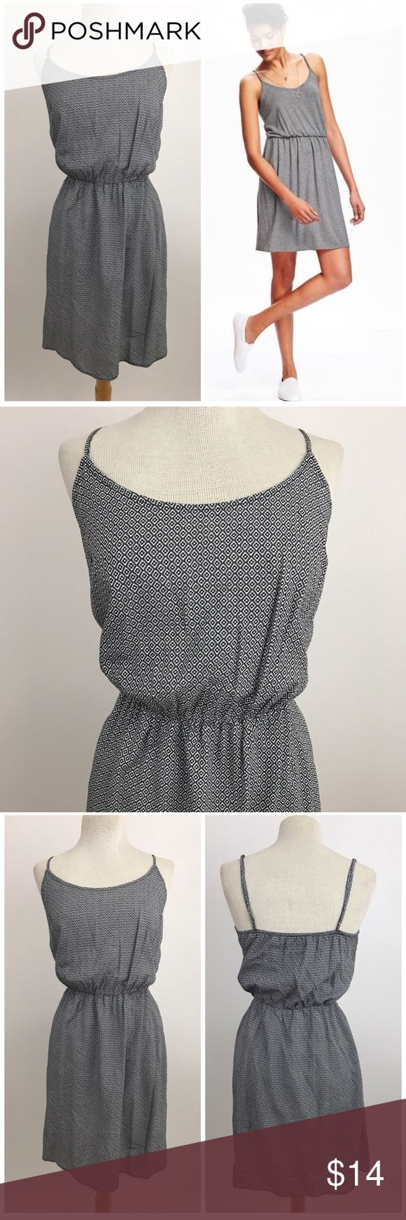 "Old Navy Cami Waisted Dress Light and breezy fitted dress from Old Navy. Adjustable spaghetti straps, cinched waist. White and black pattern.  Size medium  Waist 13"" Length 32""  Model is wearing same dress different pattern. Listed for fit reference.  Now accepting offers on bundles ! One low shipping rate no matter how many pieces are bundled 💕 Old Navy Dresses Midi"