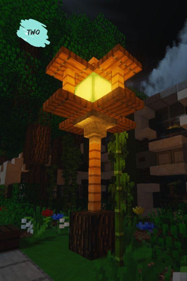 Simple Modern Lamp In Minecraft 1 14 In 2020 Minecraft Decorations Minecraft Interior Design Minecraft Designs