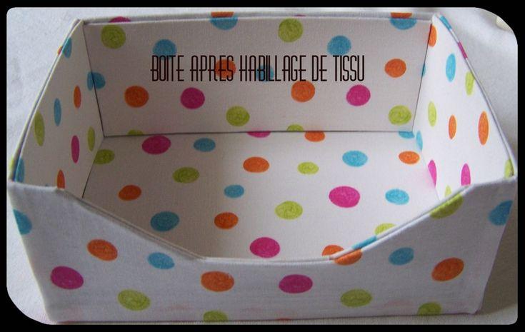 Relooking d'une boite cartonné souple en boite de rangement rigide pour salle de bain.