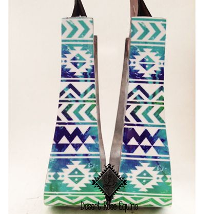 Blue Multi color aztec stirrups by Desert Rose Equine www.desertroseequine.com…
