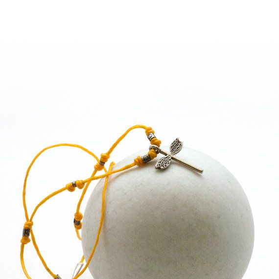 Delicate Dragonfly Necklace Thin Yellow String by PiscesAndFishes