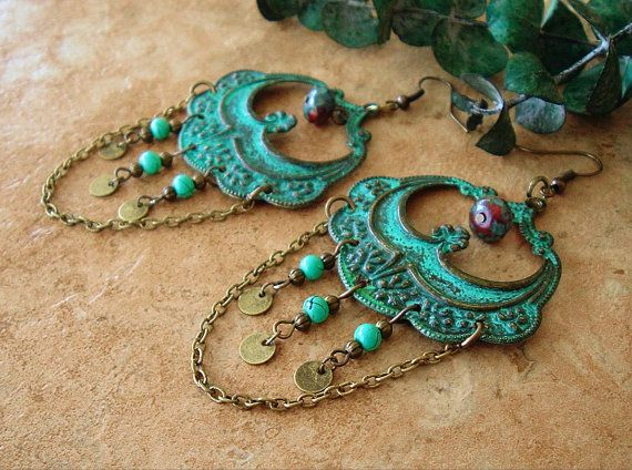 Large Patina Chandelier Earrings Junk Gypsy Rustic by BohoStyleMe