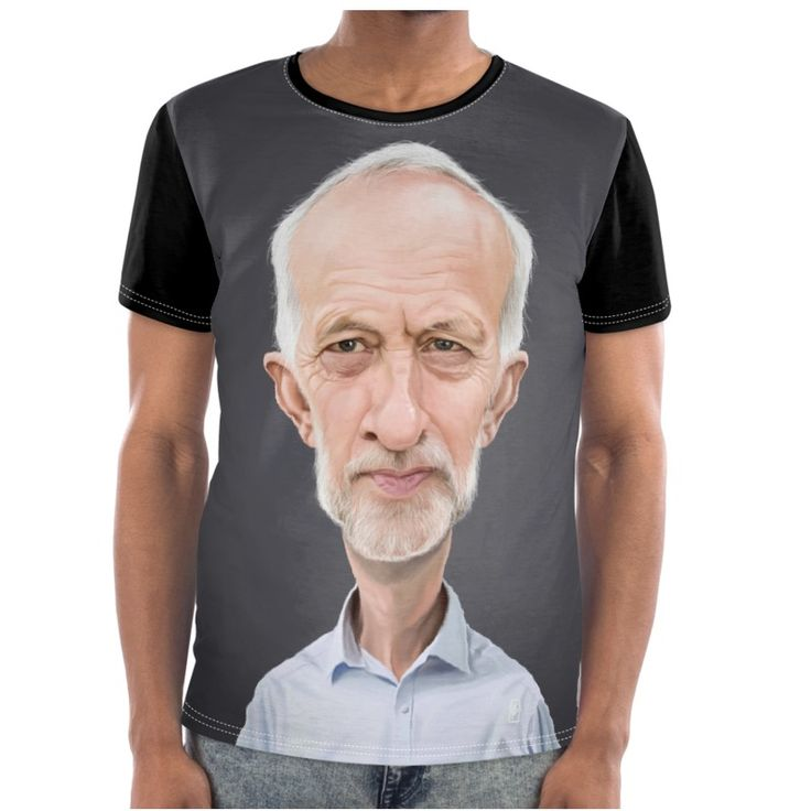 Jeremy Corbyn Celebrity Caricature Cut and Sew T Shirt art   decor   wall art   inspiration   caricature   home decor   idea   humor   gifts
