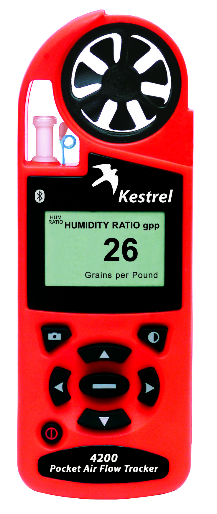he Kestrel 4200 Pocket Air Flow Tracker monitors and reports an extensive list of environmental parameters — from temperature (Celsius or Fahrenheit) to barometric pressure, altitude, relative humidity, and more**. Like all Kestrel 4000-series meters, the Kestrel 4200 also stores that information and even charts up to 2000 data points for later analysis. The Kestrel 4200 has all available monitoring functions of the Kestrel 4000, plus Humidity Ratio and Air flow (CFM).
