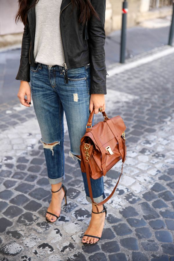 Leather jacket, boyfriend jeans, heels and Proenza Schouler bag