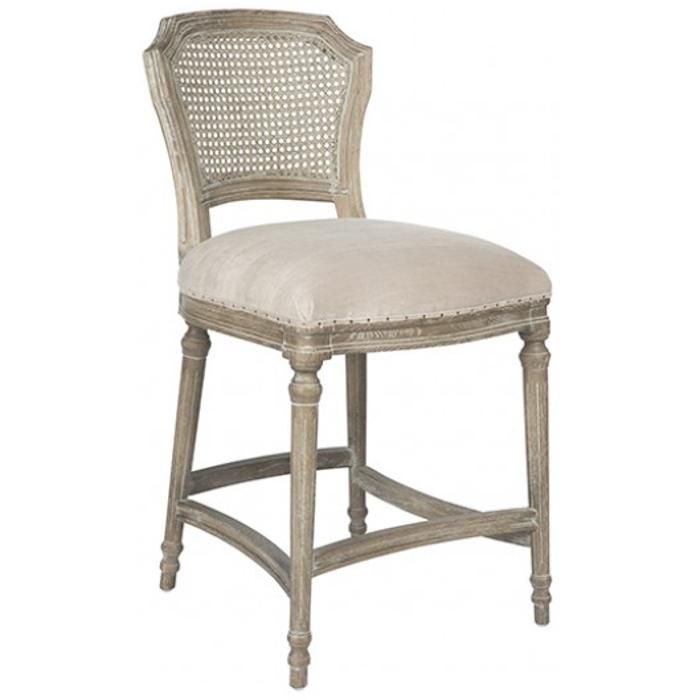 camilla french country washed ribbed taupe linen counter stool 2 for 700