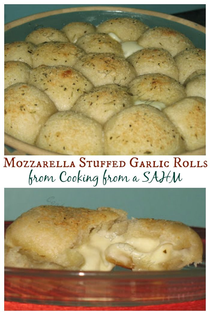 Mozzarella Stuffed Garlic Rolls - simple & delicious | Cooking From a SAHM for cupcakesandkalechips.com | #bread #cheese