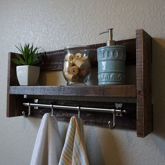 Modern Rustic Bathroom Shelf with Satin Nickel Finish by KeoDecor