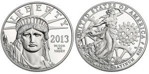 2013 American Eagle Platinum Proof Coin Released - The United States Mint will make the 2013 American Eagle Platinum Proof Coin available. Legal tender face value of the release is $100 with a mintage cap in place of 15,000.
