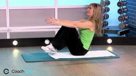L'équilibre fessier est un exercice de gainage qui renforce la ceinture abdominale, mais aussi les cuisses. Vous faites ainsi d'une pierre deux coups, pour obtenir des jambes fuselées et un ventre plat.Tenir la position 10 secondes et répéter 4 x . Retrouvez plus d'infos sur notre article « Un ventre plus ferme avec l'équilibre fessier » : http://www.marieclaire.fr/,coach-club-ventre-plat-equilibre-fessier,2610253,416202.asp
