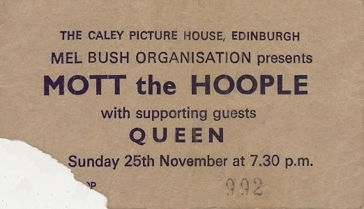 1973 25th November Mott The Hoople, support band Queen - at the Caley Picture House, now the HMV Picture House
