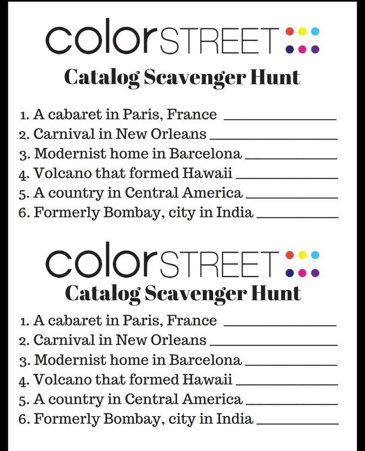 Color Street Scavenger hunt. Great nail bar game. Gets