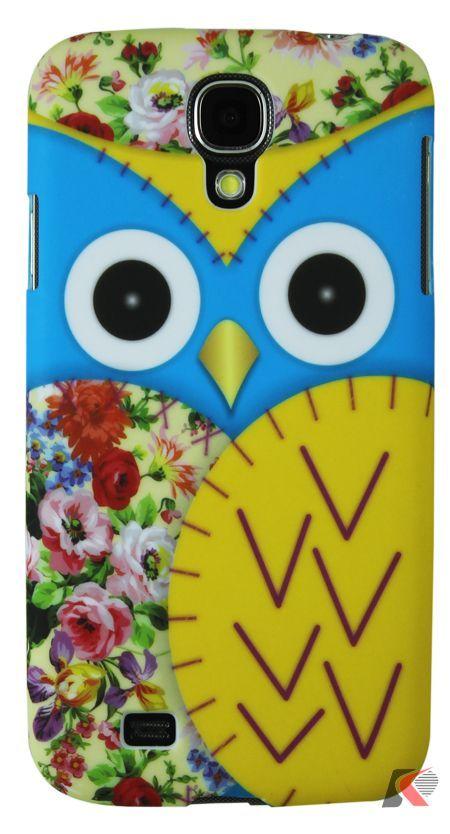 Samsung Galaxy S4 Mavi Baykuş Desenli Kılıf