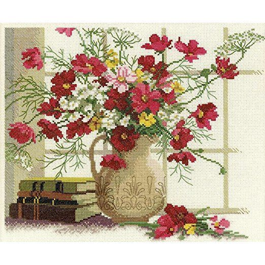 RTO Blooming Cosmos Counted Cross Stitch Kit, 12.5-Inch x 10.625-Inch 14 Count
