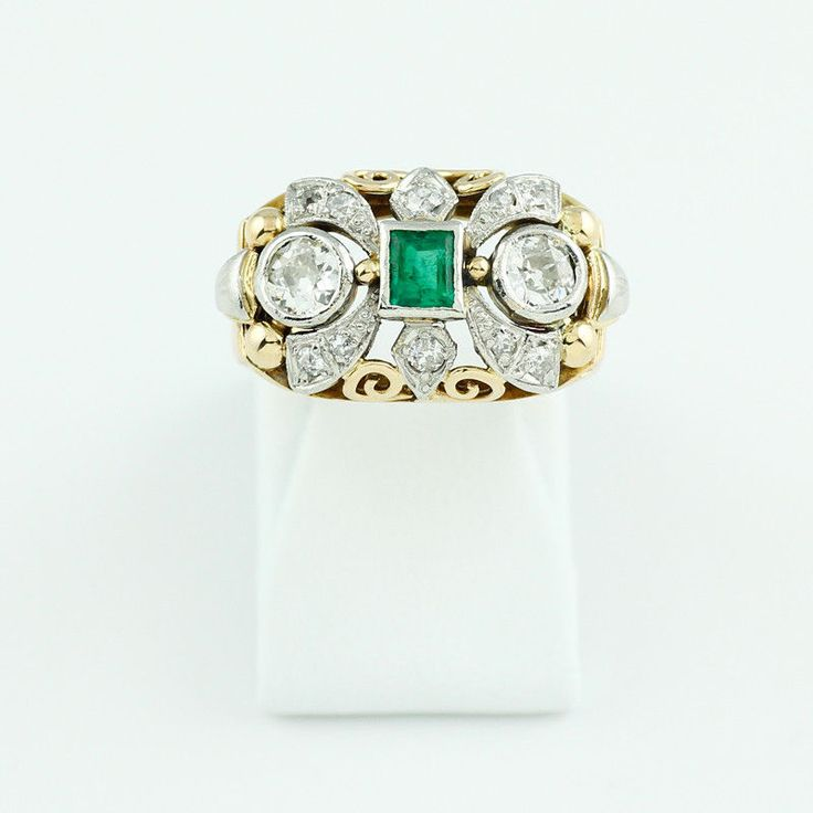 Smaragd Altschliff Diamant Ring 750 Gelbgold Größe 54 Edelstein Schmuck R04.2150