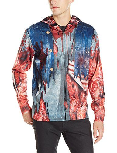 Faux Real Men's Zombie Mask Hoodie, Blue, Large
