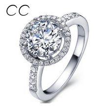 Kulatý tvar módní kroužky pro ženy v pohodě zirkony diamantový zásnubní prsteny svatební šperky bílé zlato pokovené příslušenství CC038 (Čína (pevninská část))