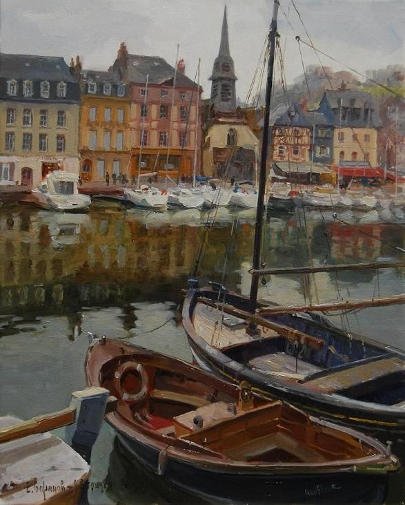"""""""Honfleur Harbor in Spring"""" 30"""" x 24"""" O/C Available"""