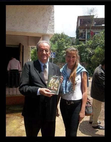 """Ombudsman of State of Mexico, Mexico, holding my book """"Mexico Natural"""". President of the Human Rights Commission of the State of Mexico, Mexico,  Marco Antonio Morales Gómez & Patty Aguirre."""