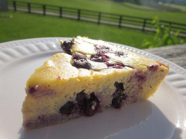 High protein, low carb, grain free Lemon Blueberry Coconut Flour Cake
