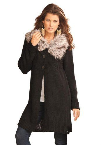 """Roamans Plus Size Fur Collar Sweater (Black,1X) Roamans. Save 64 Off!. $35.99. Novelty buttons down front. About 34"""" from shoulder to hem. Sweater with fur trimmed open wing collar"""