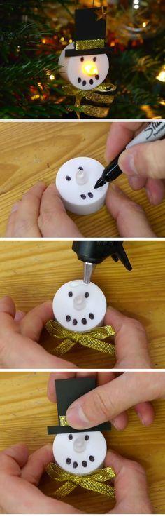 DIY LED Snowman Decorations | Easy Christmas Crafts for Toddlers | Fun Christmas Decorations for Kids