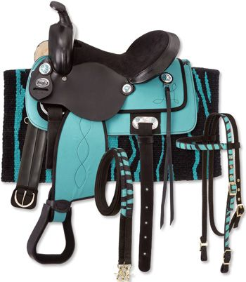 """King Series Synthetic Western Zebra Saddle Package - 17"""" pink, turquoise or black zebra $299 - pkg. includes Saddle, Nylon Headstall, Girth, and Blanket."""
