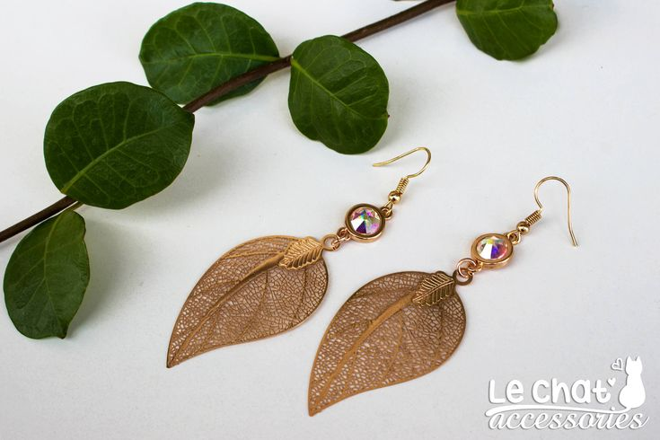 Excited to share the latest addition to my #etsy shop: Filigree leaves earrings with crystal swarovski strass http://etsy.me/2iAmniL #jewelry #earrings #rosegold #leaf #floral #diamond #minimalist #leafearrings #filigreeearrings