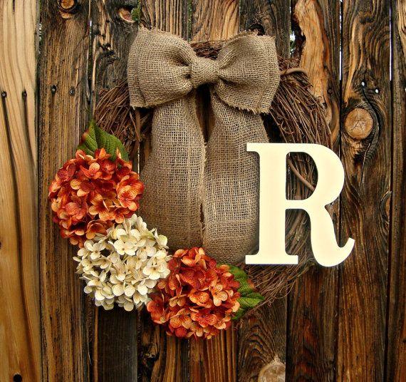 Hydrangea Monogrammed Wreath  Orange and Cream by Frontporchdecor, $46.00