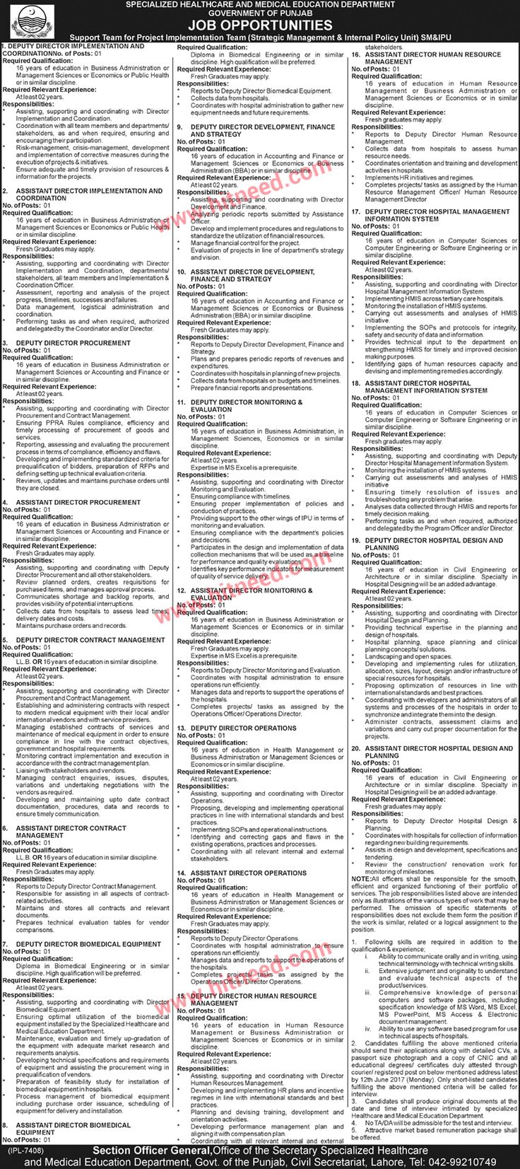 Specialized Healthcare and Medical Education Department, Dy./Assistant Director Jobs Jun 2017 Last Date: 12-06-2017   #Assistant Director #Deputy Director #Health Jobs #Healthcare Jobs #Lahore Jobs