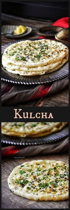 Soft and fluffy leavened Indian bread, KULCHA made with all purpose flour and yoghurt and cooked with a sprinkle of black sesame seeds and coriander leaves on top.