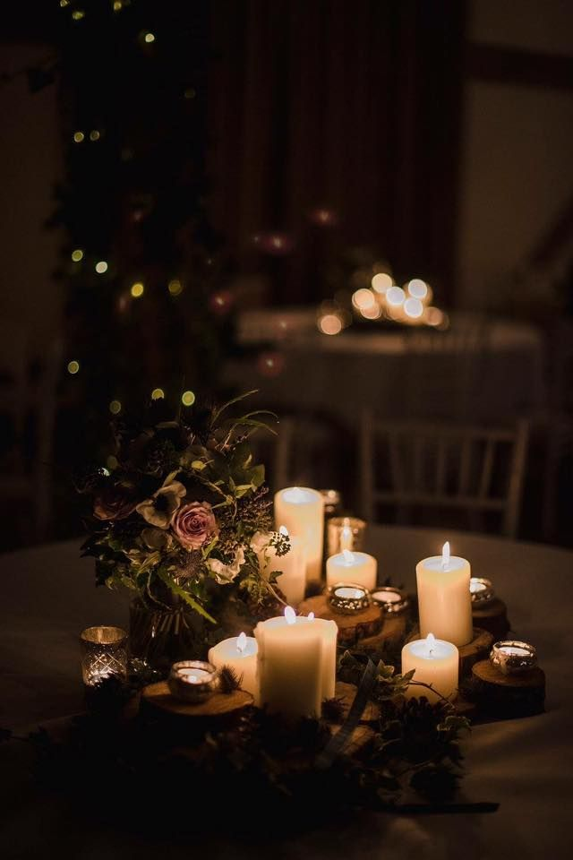 Winter Wedding Reception Filled With Candlelight At Cain Manor