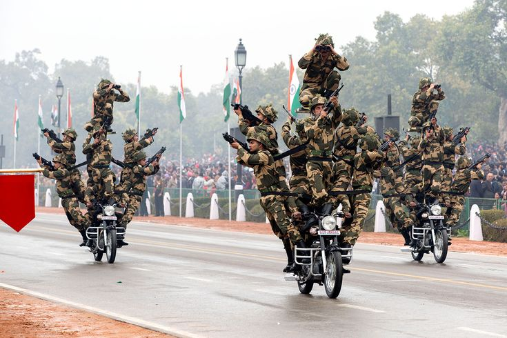 Members of the India's Border Security Force Dare Devils pass by on motorcycles during the Republic Day Parade in New Delhi India Jan. 26 2015 [1500  1000]