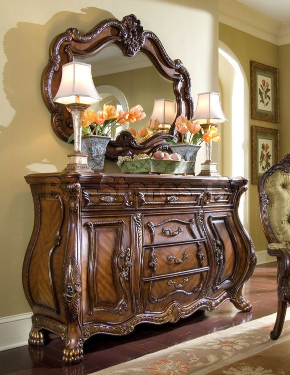 aico furniture chateau beauvais sideboard and mirror set in noble bark