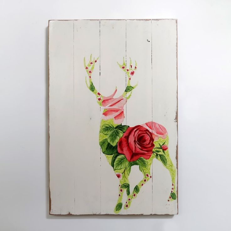 cantik yak.  WOODPAINTING Dimensi. 40 x 60 x 2 cm  Berat. sekitar 2-3 kilo Harga. Rp. 275.000 sadja  #woodsign #posterkayu #desaincafe #hiasandinding #woodcraft #homedecor #dekorasirumah #vintagesign #painting #vintage #retro #walldecor #homedesign #deer #flower