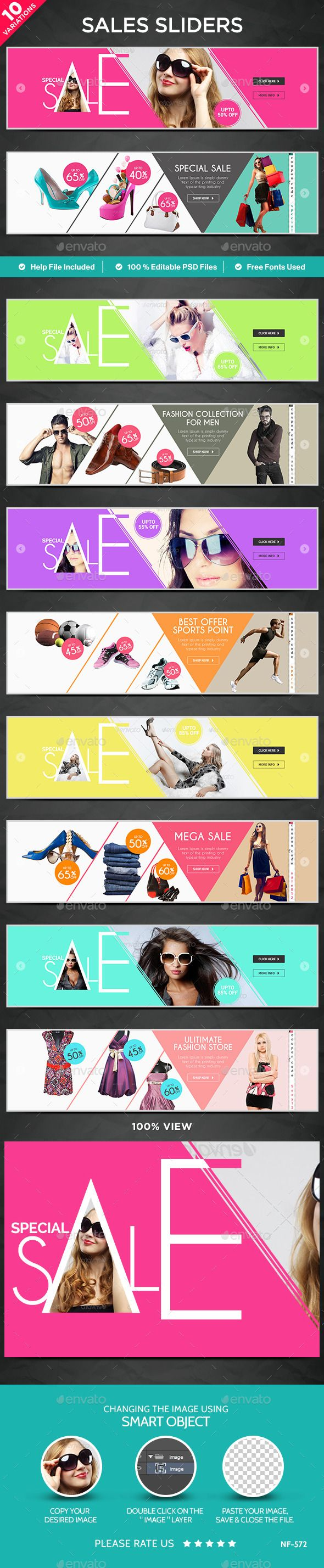 Sales Sliders - 10 Designs Template PSD. Download here…