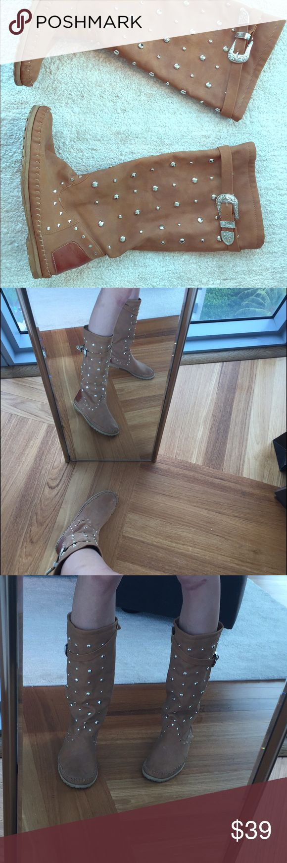 Ibiza style summer boots brown Not leather, Beautiful summer boots, condition good, inside the sole in one shoe is a little bit not perfectly straight, but doesn't bother me ( not free people, brand is from Europe) Free People Shoes Ankle Boots & Booties