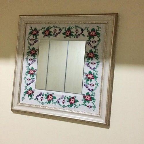Kaneviçe İşlemeli Aynalı Tablo