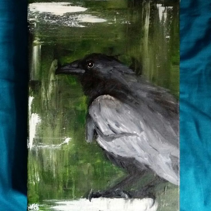 Quick crow painting in acrylic