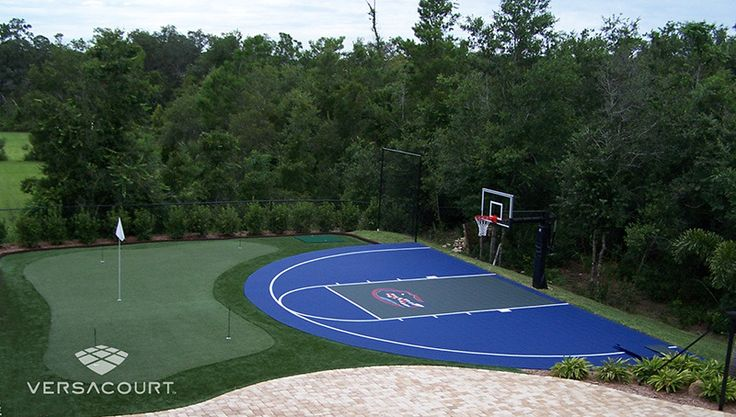 Backyard Putting Green with Sports Turn Integration for a Basketball Court