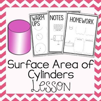 This set of worksheets includes 2 warm ups, 3 pages of in class notes, and 2 pages of homework to help teach and strengthen students' skills in calculating total & lateral surface area of cylinders.