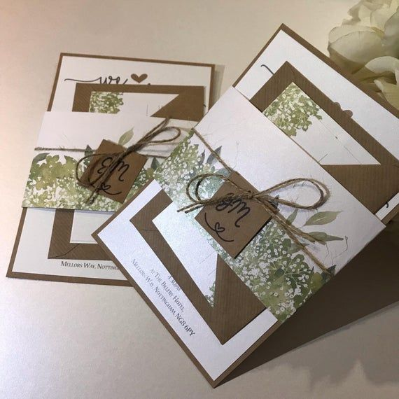 Floral Rustic Wedding Invitation Set With Twine Belly Band Rustic Wedding Invitation Set Wedding Invitations Rustic Wedding Invitation Sets