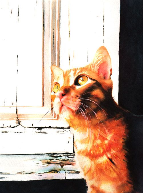 Welcome Home  (absolutely wonderful watercolor painting...really captures the essence of a ginger tabby cat gazing expectantly for his/her caregiver's homecoming!)