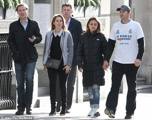 Hollywood royalty meets actual royalty: Mila Kunis and Ashton Kutcher hang out with their royal friends Princess Beatrice and Dave Clark