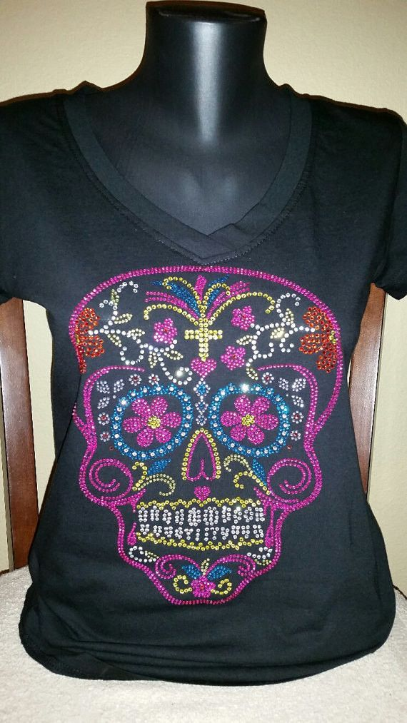 Dia de los Muertos Sugar Colorful Skull Bling/Rhinestone Shirt