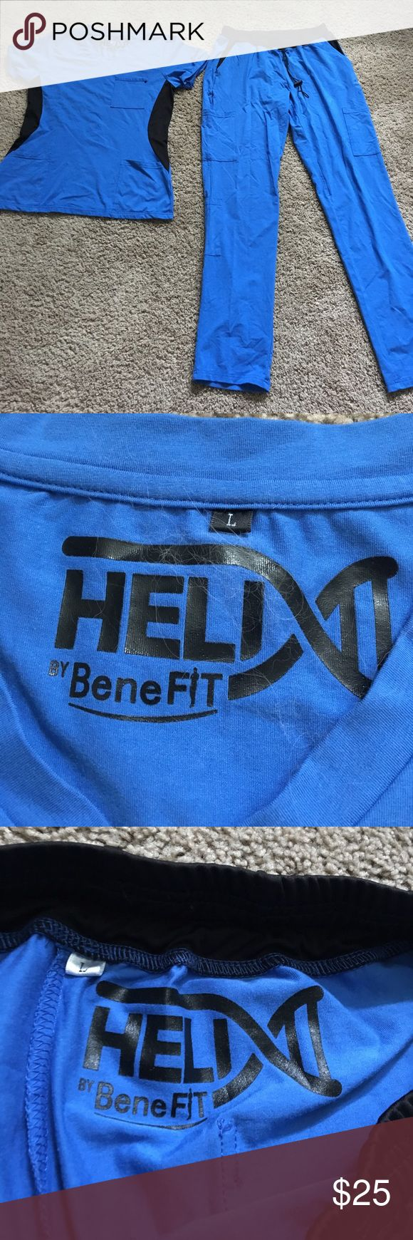 Helix size large 2 pc scrub set Perfect condition Helix benefit sz lge 2 pic royal blue scrub set see our other scrubs would love to bundle and save you money helix benefit scrubs Pants
